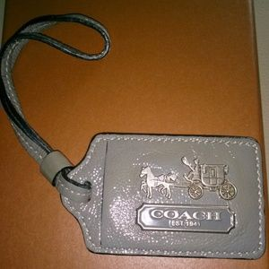Coach XL Madison Gray Leather Luggage Hangtag Fob